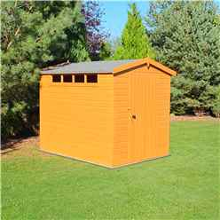 8 x 6 (2.39m x 1.79m) - Tongue And Groove Security - Apex Garden Wooden Shed / Workshop - High Level Windows - Single Door - 12mm Tongue And Groove Floor And Roof