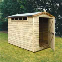INSTALLED - 8 x 6 (2.39m x 1.79m) - Tongue And Groove Security - Apex Wooden Shed - High Level Windows - Single Door - 12mm Tongue And Groove Floor And Roof - INCLUDES INSTALLATION