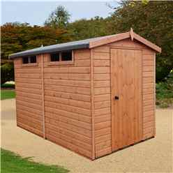 10 x 6 (2.99m x 1.79m) - Tongue And Groove Security - Apex Garden Wooden Shed / Workshop - High Level Windows - Single Door - 12mm Tongue And Groove Floor And Roof
