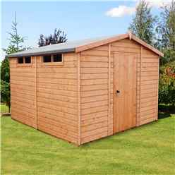 10 x 10 (2.99m x 2.99m) - Tongue And Groove Security - Apex Garden Wooden Shed / Workshop - High Level Windows - Single Door - 12mm Tongue And Groove Floor And Roof