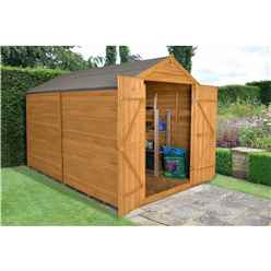 INSTALLED 10 x 8 Apex Overlap Dip Treated Shed - Double Door With No Windows (2.59m x 3.10m)
