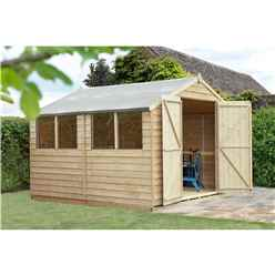 INSTALLED 10ft x 10ft Apex Overlap Pressure Treated Shed - Double Door With 4 Windows (3.04m x 3.06m)