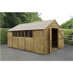 Overlap Pressure Treated 15ft x 10ft Apex Shed - Double Door With 6 Windows (3.05m x 4.55m)