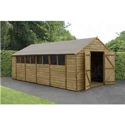 INSTALLED 20ft x 10ft Apex Overlap Pressure Treated Shed - Double Door With 8 Windows (3.04m x 6.03m)