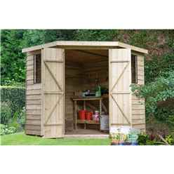 Installed 7ft X 7ft Pressure Treated Overlap Corner Shed (2.9m X 2.3m)