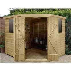 Installed 8ft X 8ft Pressure Treated Overlap Corner Shed (3.4m X 2.8m) - Core