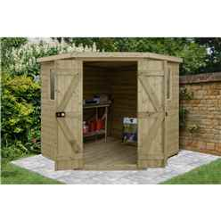 Installed 7ft X 7ft Tongue & Groove Pressure Treated Corner Shed (2.96m X 2.30m) - Core (bs)