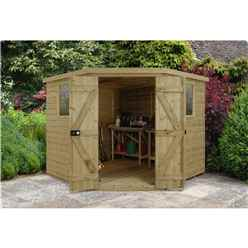 Installed 8ft X 8ft Tongue & Groove Pressure Treated Corner Shed (3.46m X 2.80m) - Core (bs)