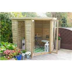 Installed Arlington Premium Tongue & Groove 7ft X 7ft Corner Summerhouse (2.96m X 2.30m) - Core (bs)