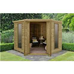 Installed Arlington Premium Tongue & Groove 8ft X 8ft Corner Summerhouse (3.46m X 2.80m) - Core (BS)