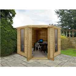 Oakley Overlap 8ft X 8ft Corner Summerhouse (3.46m X 2.80m) - Core (bs)