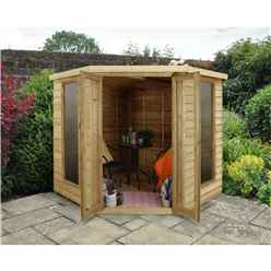 Installed Oakley Overlap 7ft X 7ft Corner Summerhouse (2.96m X 2.30m) - Core (bs)