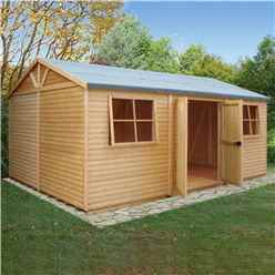 12 x 18 - (3.73m x 5.39m) - Tongue & Groove - Apex Workshop - 2 Opening Window - Double Doors - 16mm Tongue & Groove Floor