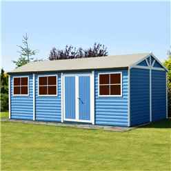 12 X 24 - (3.73m X 7.18m) - Tongue & Groove - Apex Workshop - 2 Opening Window - Double Doors - 16mm Tongue & Groove Floor (core)