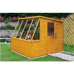 INSTALLED - 8 x 6 (2.39m x 1.79m) Tongue And Groove - Potting Shed With Opening Side Window INSTALLATION INCLUDED