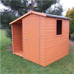 7 x 6 Tongue And Groove Apex Shed With Log Store - Single Door