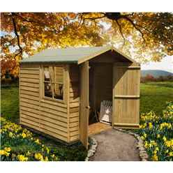 7 x 7 (1.98m x 2.04m) Pressure Treated Overlap - Apex Wooden Garden Shed - 1 Opening Window - Double Doors - 10mm Solid OSB Floor - CORE (BS)
