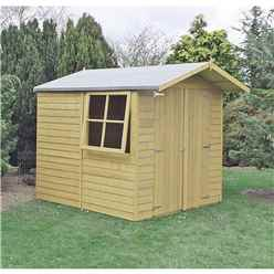 INSTALLED 7 x 7 (1.98m x 2.04m) Pressure Treated Overlap - Apex Wooden Garden Shed - 1 Opening Window - Double Doors - 10mm Solid OSB Floor
