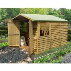 10 x 7 (2.97m x 2.04m) - Pressure Treated Overlap - Apex Wooden Garden Shed - 2 Opening Windows - Double Doors - 10mm Solid OSB Floor