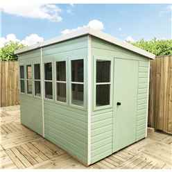 8 x 8 (2.44m x 2.39m) - Tongue And Groove - Pent Potting Shed - 2 Opening Windows - Single Door - 12mm Tongue And Groove Floor & Roof