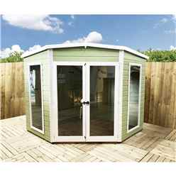 8 x 8 (2.25m x 2.25m) - Corner Wooden Summerhouse - Double Doors - 2mm Tongue And Groove Floor