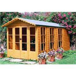13 x 7 (3.96m x 2.05m) - Premier Wooden Summerhouse + Veranda + Overhang - 12mm T&G - Walls - Floor - Roof