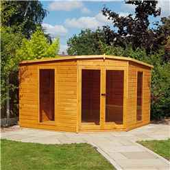 10 x 10 Corner Wooden Summerhouse With Double Doors (12mm Tongue And Groove Floor)