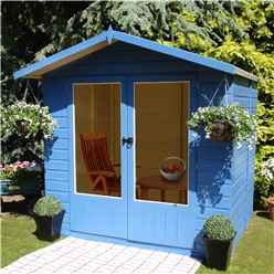 INSTALLED 7 x 5 (2.05m x 1.55m)  - Premier Wooden Summerhouse - Double Doors - 12mm T&G Walls & Floor INSTALLATION INCLUDED