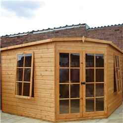 10 x 10 (2.99m x 2.99m) - Premier Corner Wooden Summerhouse - 2 Opening Windows - 12mm T&G Walls - Floor - Roof