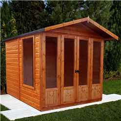 INSTALLED 7 x 7 (2.69m x 2.05m) Premier Wooden Summerhouse - Double Doors + Side Windows - 12mm T&G Walls - Floor - Roof