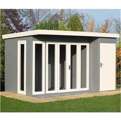 12 x 8 (3.59m x 2.39) - Premier Pent Wooden Summerhouse - 4 Windows - Double Doors - 12mm T&G Walls - Floor - Roof