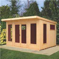 12 x 10 (3.59m x 2.99m) - Premier Pent Wooden Summerhouses - 6 Windows - Double Doors - 12mm T&G Walls - Extra Strength Floor 16mm T&G