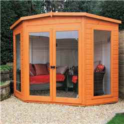 INSTALLED 7 x 7 (2.69m x 2.05m) - Premier Corner Wooden Summerhouse - Double Doors - Side Windows - 12mm T&G Walls & Floor