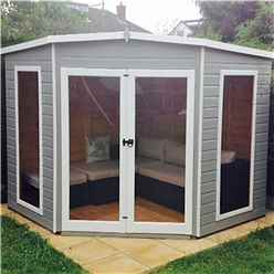 INSTALLED 8 x 8 (2.25m x 2.25m) - Premier Corner Wooden Summerhouse - Double Doors - Side Windows - 12mm T&G Walls & Floor