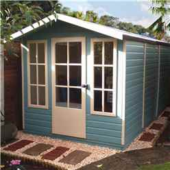 INSTALLED 10 x 7 (2.97m x 2.05m) - Premier Wooden Summerhouse - Single Doors - 12mm T&G Walls - Floor - Roof
