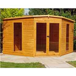 INSTALLED 10 x 10 (2.99m x 2.99m) - Premier Corner Wooden Summerhouse - Double Doors - 12mm T&G Walls - Floor - Roof