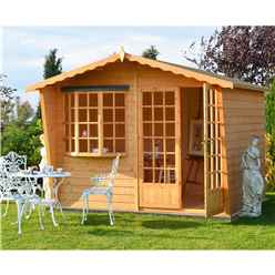 INSTALLED 10 x 6 (3m x 1.79m) - Wooden Apex Summerhouse - Bay Window - Double Doors - 12mm Tongue And Groove Floor & Roof