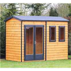 INSTALLED 10 x 7 (3.02m x 2.23m) - Premier Reverse Wooden Studio Summerhouse - 2 Windows - Double Doors - 20mm T&G Walls