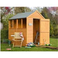 7 x 5 (2.05m x 1.62m) - Overlap Dip Treated - Apex Garden Shed - 4 Windows - Single Door - 10mm Solid OSB Floor