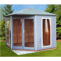 INSTALLED 8 x 8 (2.5m x 2.5m) - Premier Corner Wooden Summerhouse - Double Doors - Side Windows - 12mm T&G Walls and Floor INSTALLATION INCLUDED