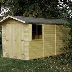 INSTALLED 13 x 7 (3.96m x 2.15m) - Pressure Treated Tongue And Groove - Apex Garden Wooden Shed - Double Doors - 3 Opening Windows - 12mm Tongue And Groove Floor - INCLUDES INSTALLATION