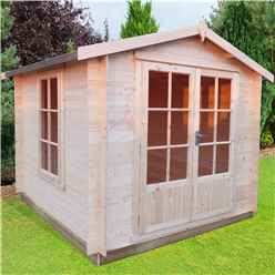 2.4m x 2.4m Premier Apex Log Cabin With Double Doors + Free Floor & Felt (19mm)