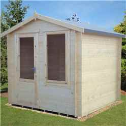 2.7m x 2.7m Premier Apex Log Cabin With Single Door And Window + Free Floor & Felt (19mm)