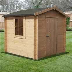 INSTALLED -  2.7m x 2.7m Premier Apex Log Cabin With Single Door + Free Floor & Felt (19mm) INSTALLATION INCLUDED