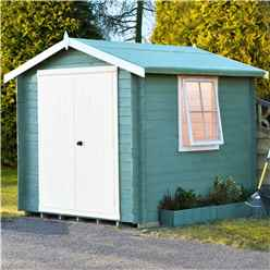 Installed -  2m X 2m Premier Apex Log Cabin With Double Doors + Side Window + Free Floor & Felt (19mm) Installation Included