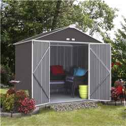 7ft x 8ft (2.18m x 2.38m) Double Door Galvanised Steel Metal Shed