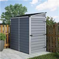 INSTALLED 6 x 4 (1.75m x 1.17m) Single Door Pent Plastic Shed with Skylight Roofing INCLUDES INSTALLATION