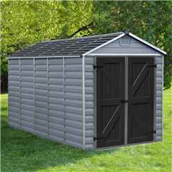 INSTALLED 12 x 6 (3.78m x 1.85m) Double Door Apex Plastic Shed with Skylight Roofing INSTALLATION INCLUDED