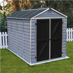 INSTALLED 10 x 6 (3.03m x 1.85m) Double Door Apex Plastic Shed with Skylight Roofing INSTALLATION INCLUDED