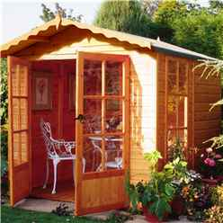 7 X 7 (2.05m X 1.98m) - Premier Pressure Treated Wooden Summerhouse - Double Doors - 1 Opening Window - 12mm T&g Walls - Floor - Roof